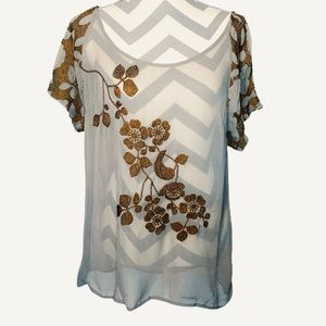 Anthropologie Floral Embroidered Blouse Size 14